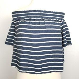 TopShop | crop top | off the shoulder | striped